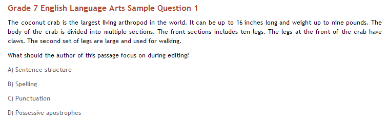 Grade 7 ELA sample question