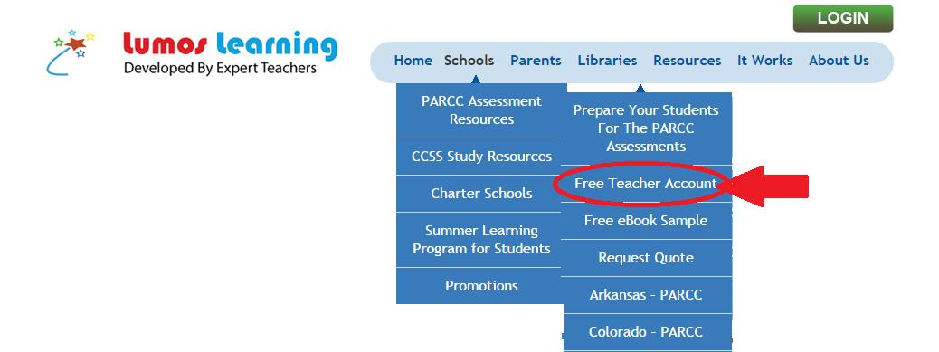 Free Teacher Account - Menu