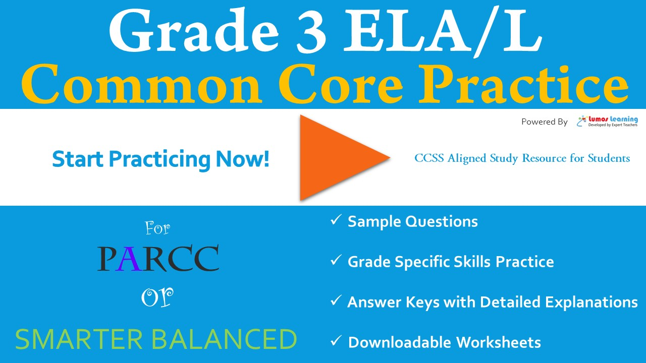 ELA Practice Test 3rd Grade Common Core State Standards (CCSS)