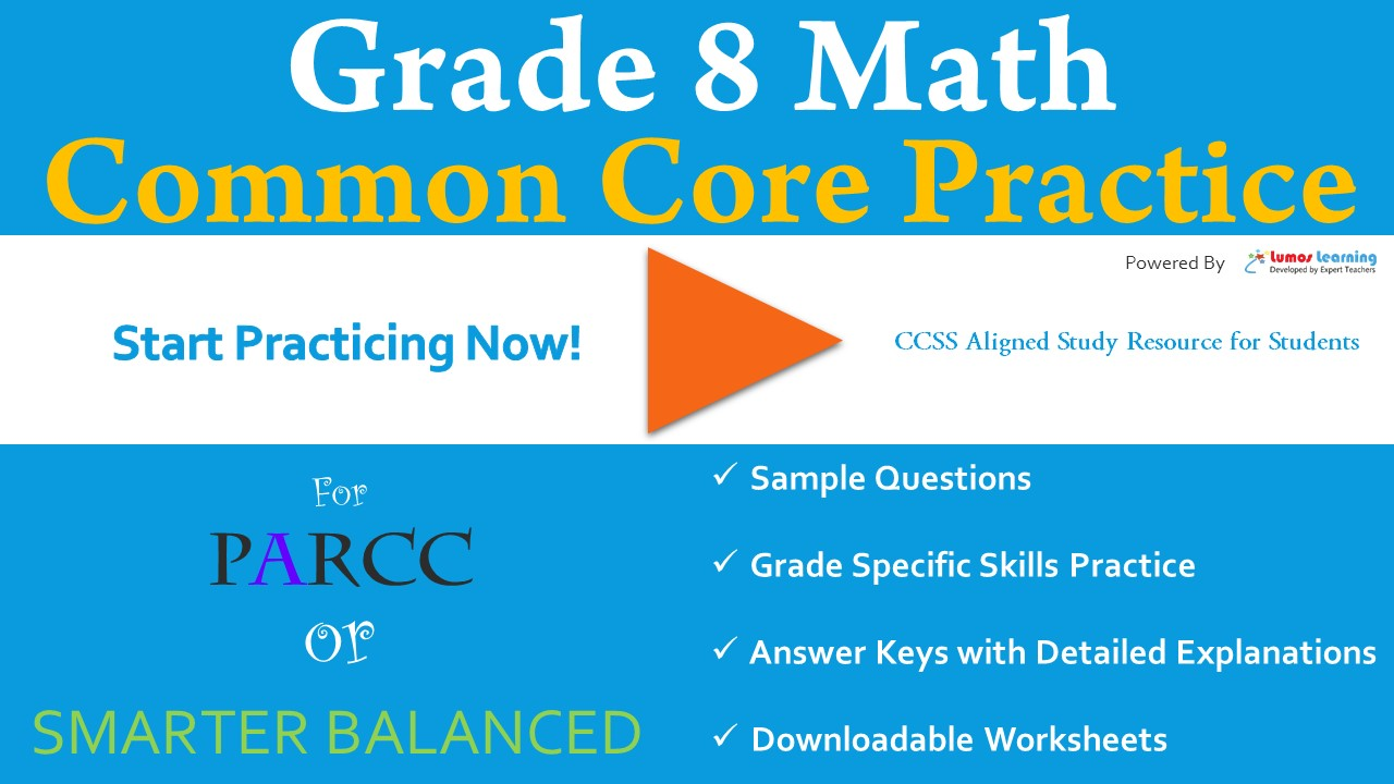 PARCC 8th Grade Math Practice Test Common Core State Standards (CCSS)