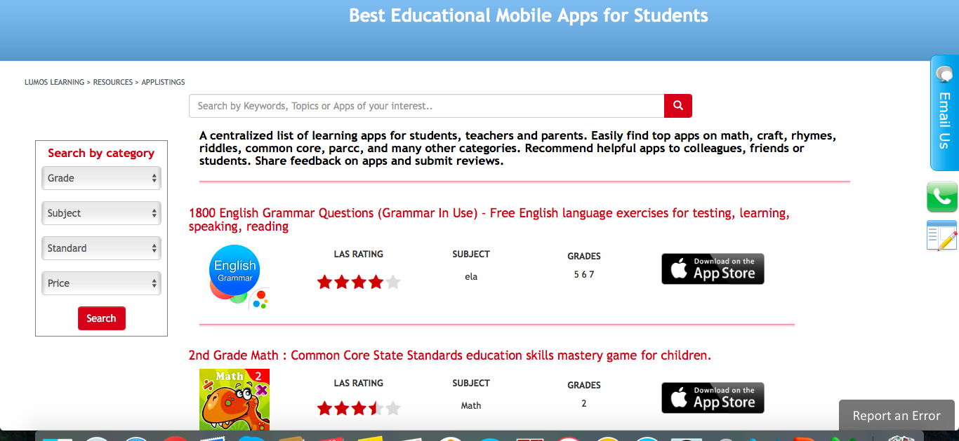 Lumos Learning App listing page is now available with user