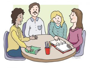 teacher and parents discussing