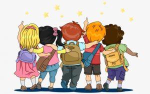 School kids having fun