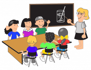 five or six students with teacher in class