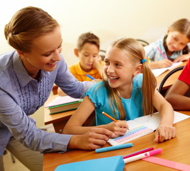 Happy Teacher with Student